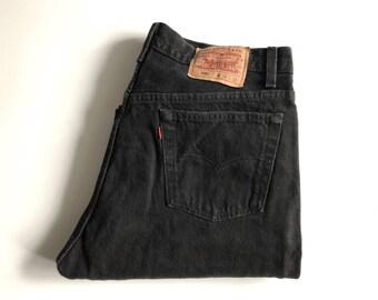 Vintage Men's 80's Levi's 501, Black Jeans, Red Tab, Denim (W34)