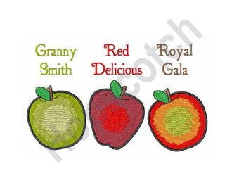 Apples - Machine Embroidery Design, Granny Smith, Red Delicious, Royal Gala