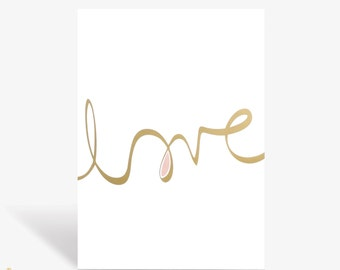 Love Print - Limited Edition Gold Foil Art Print - A3 size - #makeforgood