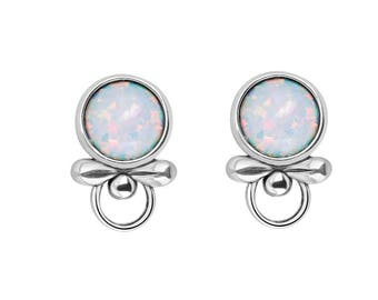Opal Earrings, Opal Earrings Stud, Opal Stud Earrings Sterling Silver, Opal Jewelry, Bridesmaid Gift, Wedding Gift,Birthday Gift,Womens Gift