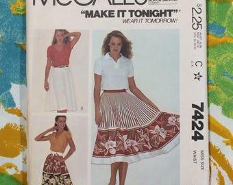 Skirt Pattern / XL Skirt Pattern / Circle Skirt Pattern / Semi Circle Skirt Pattern / 1980s Skirt Pattern / Vintage Skirt Pattern / UNCUT