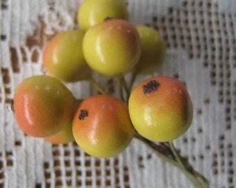 12 Vintage Millinery Orange And Yellow Tiniest Berries Fruit Germany 1950s  001