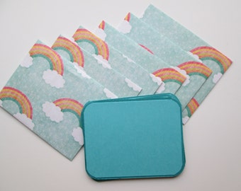 Handmade Rainbow envelopes with matching note cards, set of 6