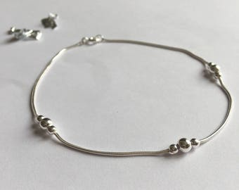 Sterling Silver Snake Chain Beaded Anklet