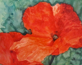 Print: Red Poppies - Watercolor