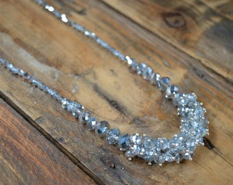 Crystal Necklace, Vintage Necklace, Cluster Necklace, Beaded Necklace, Necklace, Crystal Jewelry, Gifts for Her, Wedding Gift