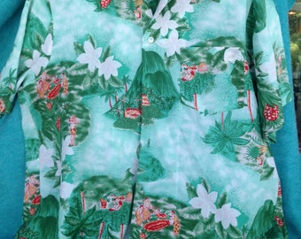 Recent Vintage Pomare Hawaiian Shirt Islanders, Mountains, Palm and Plumeria Rayon Large