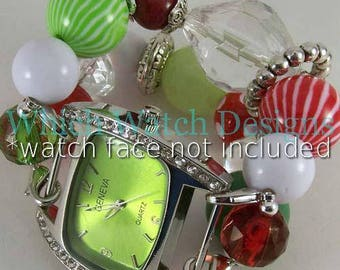 Holly Jolly.. Whimsical Christmas Watch Band, Red, Green, White, Clear Interchangeable Beaded Band