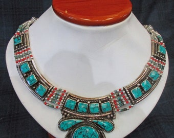 Hand Made, 23 year old, South American Jewelry, Turquoise, Coral and Lapis. Beautiful Created Necklace, Excellent Condition.  J-1 2025a