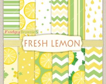 """ON SALE Digital paper background 8.5x12"""" , printable digital paper ,No.245, polkadots,lemon digital paper, yellow, lemon, summer color"""