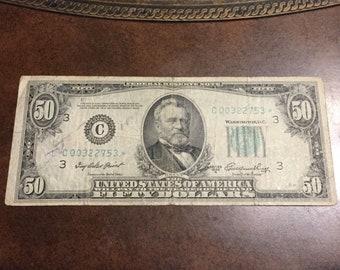 1950A 50 Dollar Star note C003222753*