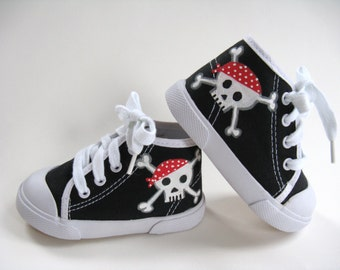 Pirate Shoes, Skull and Crossbones Black Hi Top Sneakers, Pirate Theme Party, Hand Painted for Baby or Toddler