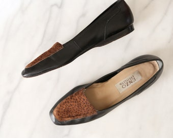 Vintage Black Loafers with Leopard Print Detailing // Black Enzo Angiolini Flats