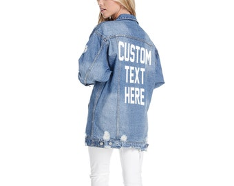CUSTOM TEXT Long Oversized Denim Jacket Mid-Wash Vintage Inspired and Distressed Outerwear Jacket Distressed Custom Text Denim Jacket