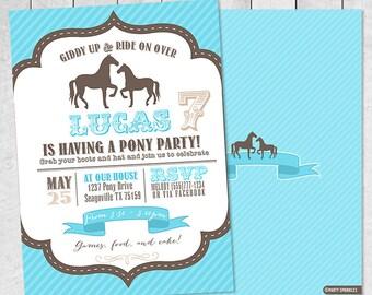 Blue Vintage PONY / HORSE Birthday Party Invitation - Boy - Double Sided Printable Digital Design