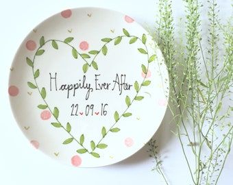 Cute wedding gift ideas - bride leaf crown - happily ever after ideas -personalised wedding plate - wedding plate made to order - leaf crown