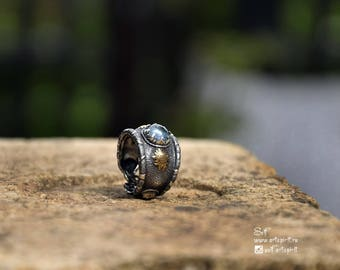 Ring with aquamarine. Silver forging