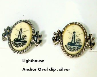 Clip Nautical Faux Scrimshaw Earrings, Pick One,  3 Designs , 2 Styles, Gold or Silver, Ship, Gulls, Lighthouse, 1980s
