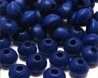 50 wooden Rondelles 8x6mm ultramarine blue beads