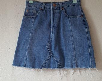 High Waist Light Denim Mini Skirt Frayed