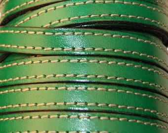 Lanière cuir vert couture,plat,10 mm,vendu par 20 cm