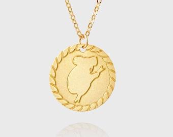 koala gold Necklace ,  animal lover gift , gift for women , koala pendant , small animal charm necklace , minimalist jewelry , birthday