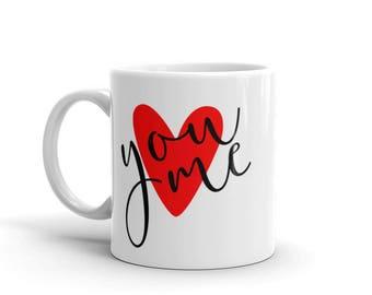 You & Me Mug, Couples Mug, Valentine Gift, Anniversary Gift, Heart Mug