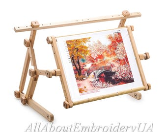 Needlework Adjustable Lap Table Stand Hands free Wooden Embroidery Cross Stitch Scroll Frame Tapestry Holder Bed Table Stand craft tool