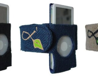 iPod Nano 1G Armband, Made of Jute Burlap Hemp