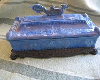 Jewelry box chest with dragon, celluloid, blue storage.