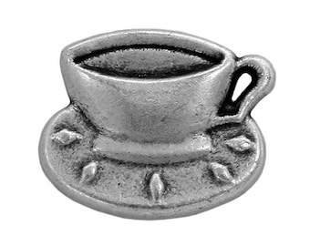 4 Coffee Cup 3/4 inch  ( 20 mm ) Metal Buttons Antique Silver Color