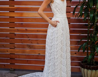 Coco Embroidered Lace Bohemian Wedding Dress | Cotton Lace Gown with POCKETS  and FULL SKIRT | Handmade |  Boho Beach Wedding Dress