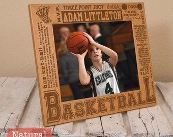 Personalized Basketball Picture Frame-Wood Engraved-Get your name/number engraved!