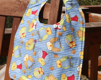 TODDLER or NEWBORN Bib: Owls with Polka Dots, Personalization Available