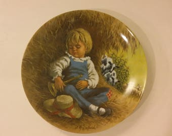 Little Boy Blue Vintage Collectors Plate, Reco Mother Goose Plate Rhyme, 1980