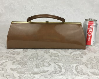 Vintage Copper Gold Theodore Patent Leather Long Skinny Purse Clutch Handbag P26