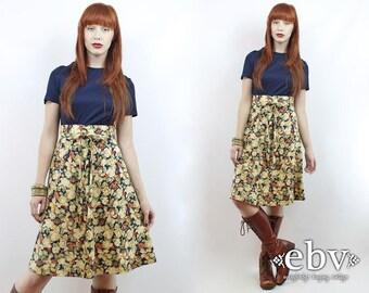 1970s Dress Babydoll Dress Navy Floral Dress Navy Dress Hippie Dress Hippy Dress Fall Dress Vintage 70s Navy Floral Mini Dress XS S
