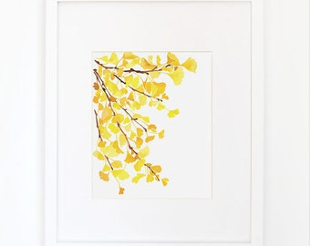 Yellow Ginkgo - Watercolor Art Print