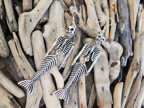 Little Skeleton Body Mermaid Earrings Earring Earing Ear Ring Rings Death Bodies Corpse Pirate Skull Jolly Roger Rodger