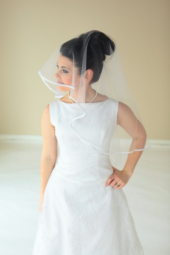 2-Tier Waist length round veil with Satin Ribbon