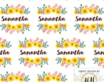 Flower Girl Personalized Fabric / Custom Name Fabric / Watercolor Floral Fabric / Baby Name Fabric / Spring Print by the Yard & Fat Quarter