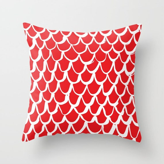 Red Mermaid Throw Pillow . Red and White Pillow . Red Cushion . Scarlet Mermaid Pillow . Red Pillow . Ruby Mermaid Cushion 14 16 18 20 inch
