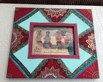 "Hand Painted Bohemian Wood Decorative Picture Frame  12.5""W10.5""Hx1""D, Pic. 5""Wx7""H F0082"