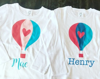 Boy or Girl Personalized Valentine Hot Air Balloon Shirt