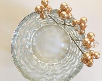 Gold bride bridesmaid hair pins crystal wedding party hairstyle