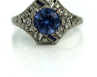 Gemstone Engagement Ring Synthetic Sapphire Engagement Ring Platinum Art Deco Ring 1930s 1.65ctw Vintage Ring Alternative Engagement Ring