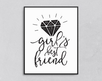 Girls, Friends, Diamonds, Print, Wall, Home, Decor, Art