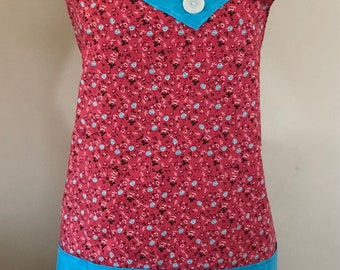 Apron - Coral Roses Floral Lined Apron