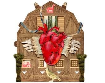 anatomy series heart 3, mixed media heart, collage heart, cabinet of curiosities heart, heart, print