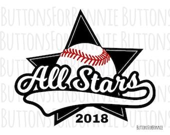 All Stars svg, Softball Svg, Baseball svg, vector, emblem, softball team, Baseball team, stitching, cutting file, swoosh, shirt design